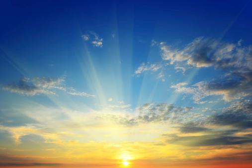 sun above the horizon