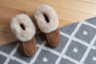 Warm slippers on a rug