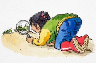 Girl in colourful outfit and red boots bending down on all fours and looking at green Cricket through magnifying glass, side view, Cartoon