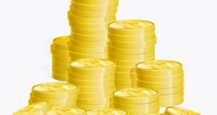 Digital illustration of stacks of gold coins