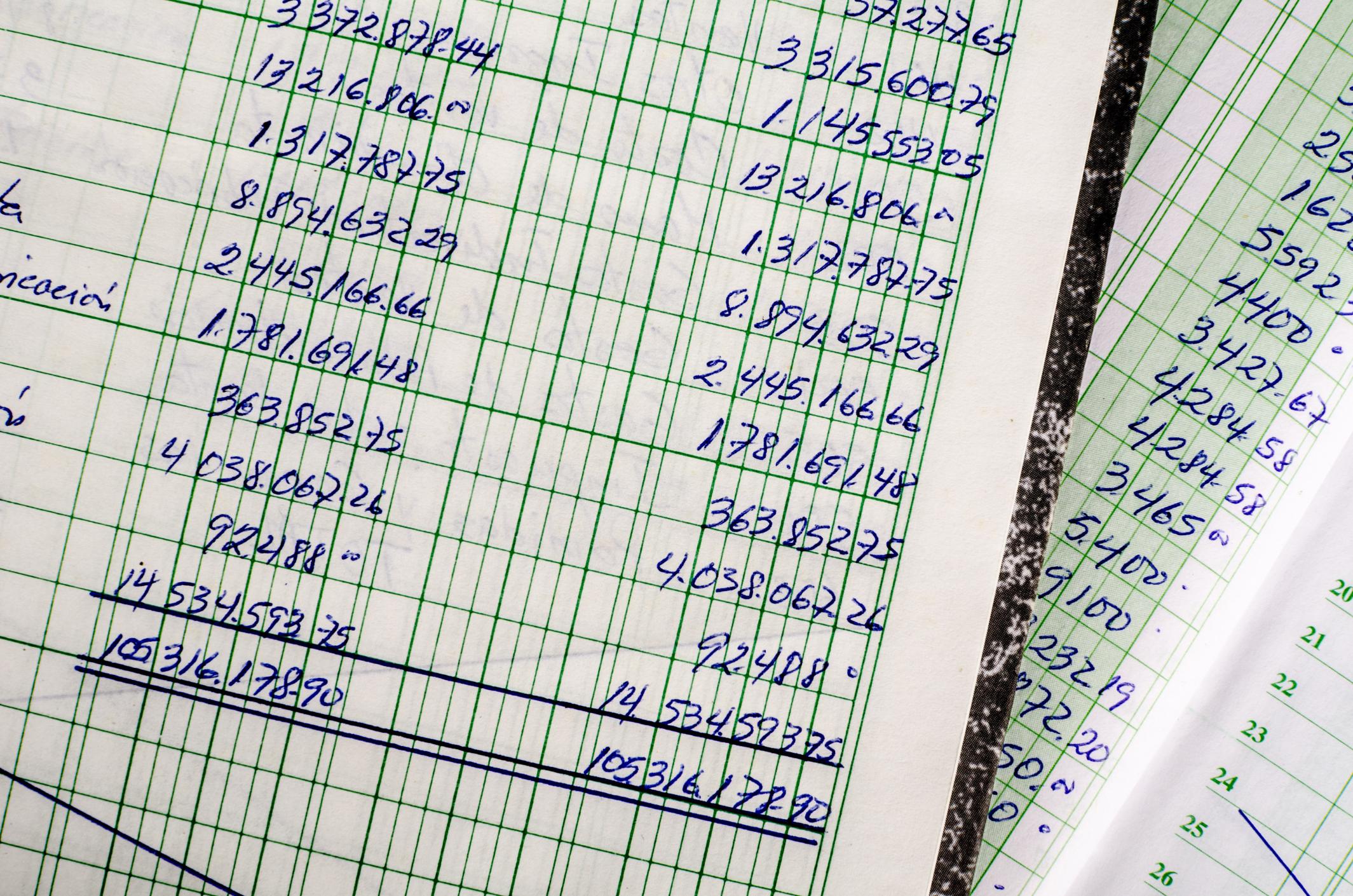 Handwritten accounting