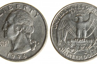 Worn American Quarter from 1996