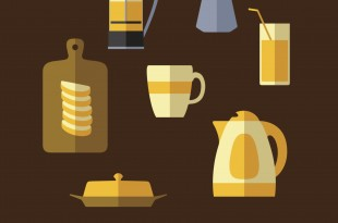 Breakfast food and drinks flat icons