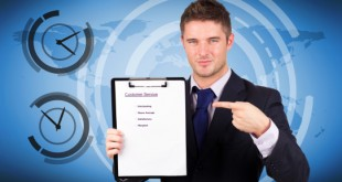Composite image of businessman with customer service report