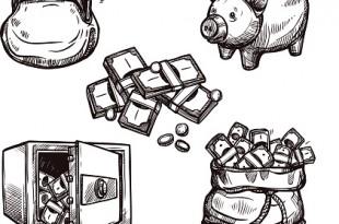 Hand drawn finance symbols set doodle