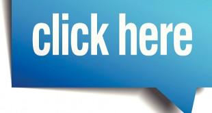 click here blue 3d realistic paper speech bubble