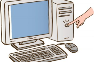 A person pushing button of computer, close up, high angle view