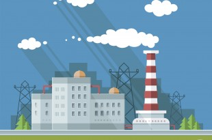 Industrial landscape set. The nuclear power plant and factory on the background of the city.Vector flat illustration.