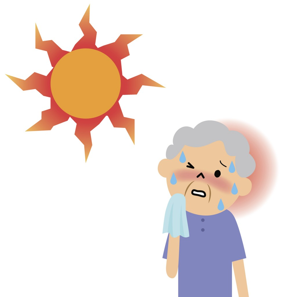 It is an illustration of the likely elderly become heatstroke in the heat.